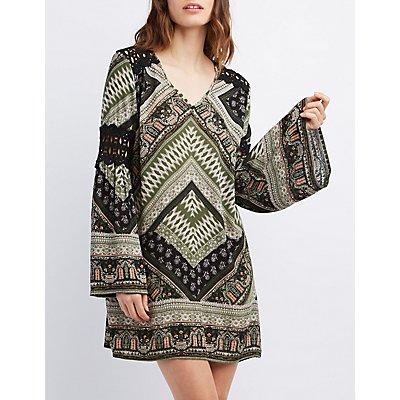 Crochet-Trim Shift Dress