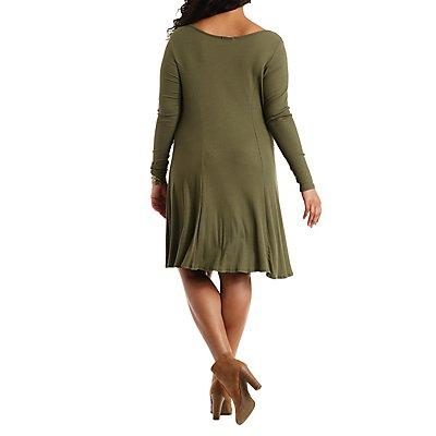 Plus Size Ribbed Knit Swing Dress