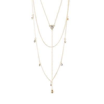 Layered Diamante Y-Chain Necklace