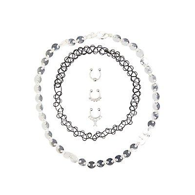 Choker Necklaces & Faux Septum Rings - 5 Pack