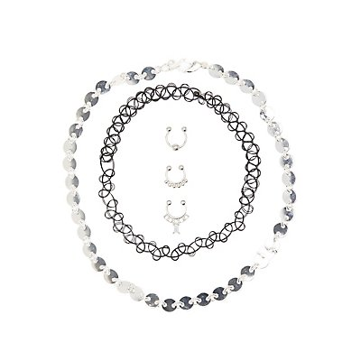 Choker Necklaces & Faux Septum Rings - 5 Pack