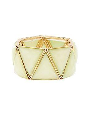 Faceted Stone Stretch Cuff Bracelet