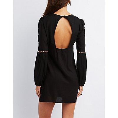 Printed Bib Neck Maxi Dress