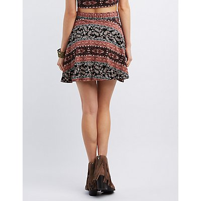 Paisley Print Skater Skirt