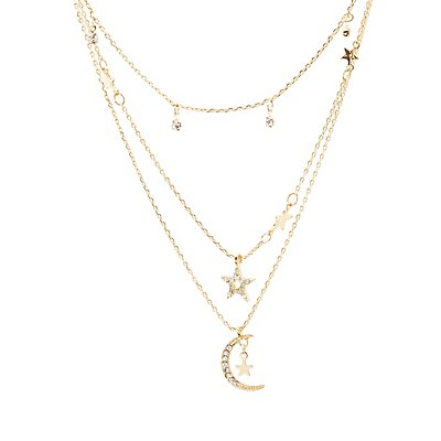 Moon & Stars Layering Necklaces - 3 Pack