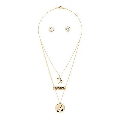 """Capricorn"" Astrology Necklace & Earrings Set"