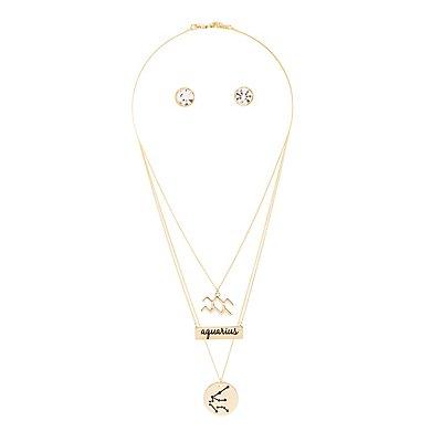"""Aquarius"" Astrology Necklace & Earrings Set"