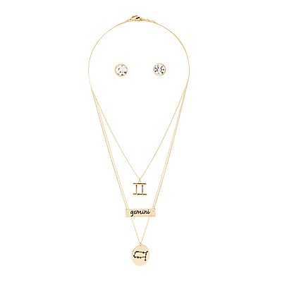 """Gemini"" Astrology Necklace & Earrings Set"