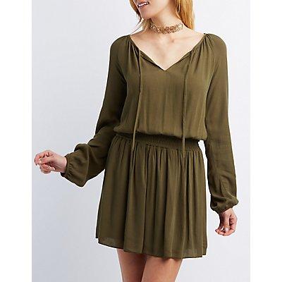Smocked Waist Shift Dress
