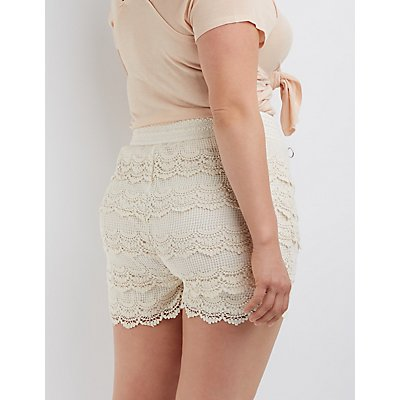 plus size tiered crochet shorts | charlotte russe