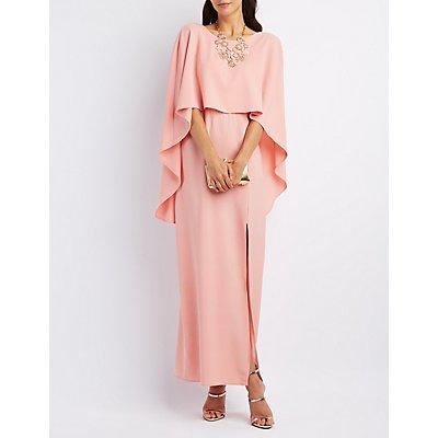 Backless Caped Maxi Dress