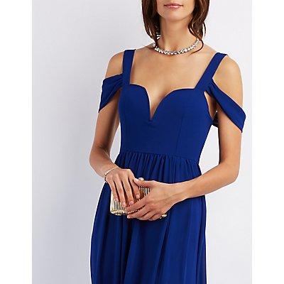 Cold Shoulder Sweetheart Maxi Dress