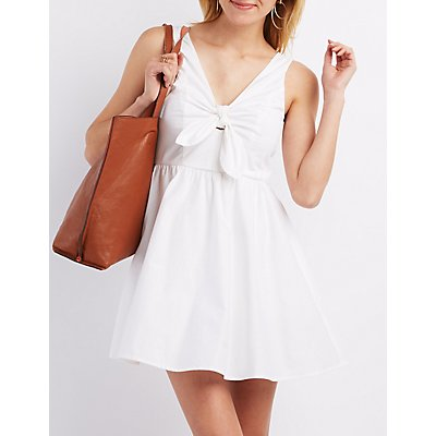 Tie Front Sleeveless Skater Dress