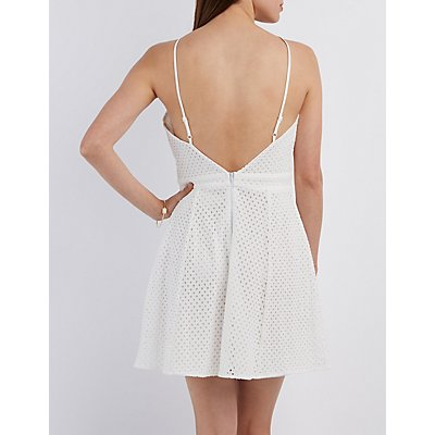 Bib Neck Eyelet Skater Dress