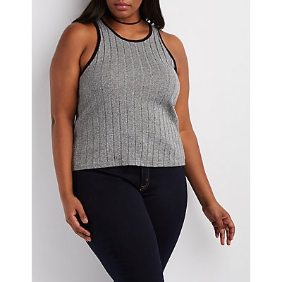Plus Size Ribbed Racer Front Crop Top