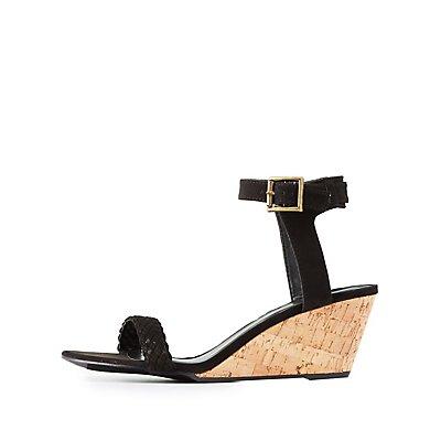 Braided Strap Wedge Sandals