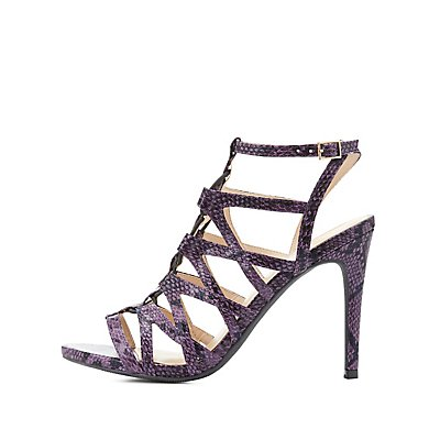 Faux Snakeskin Caged Sandals