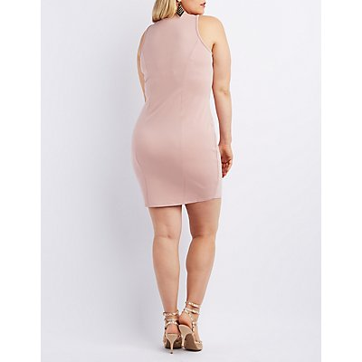 Plus Size Wired V-Neck Bodycon Dress