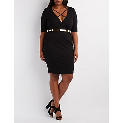 Plus Size Strappy Surplice Bodycon Dress