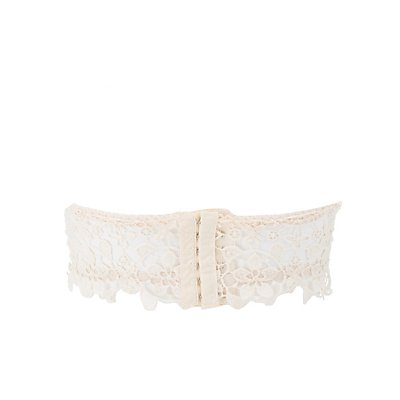Crochet Lace Long Line Strapless Bralette