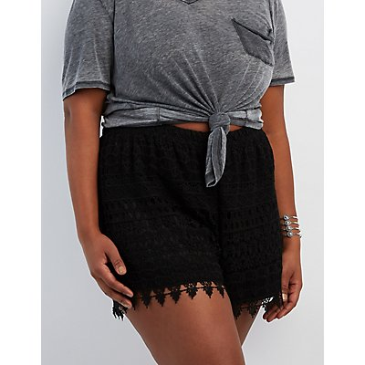 Plus Size Crochet Shorts