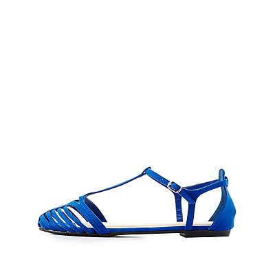 Bamboo Caged T-Strap Flats