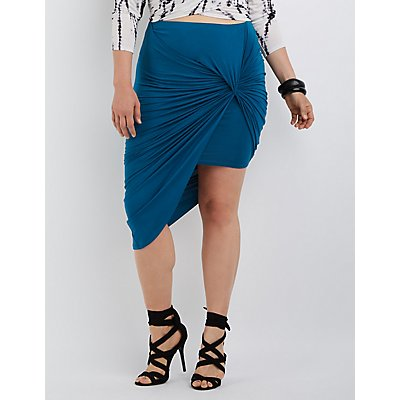 Plus Size Draped Asymmetrical Skirt