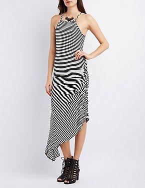 Ruched Asymmetrical Maxi Dress