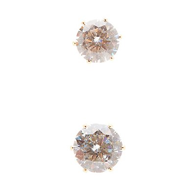 Oversize Rhinestone Stud Earrings - 3 Pack
