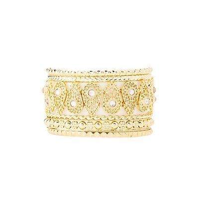 Filigree & Embellished Bangle Bracelets - 8 Pack