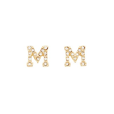 """M"" Initial Necklace & Earrings Set"