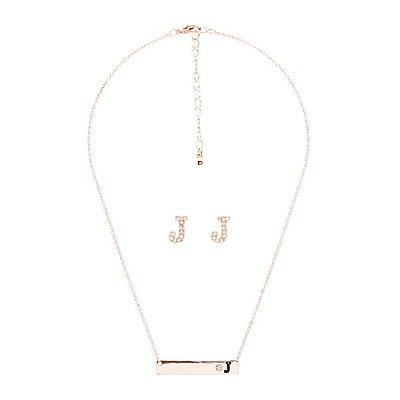 """J"" Initial Necklace & Earrings Set"