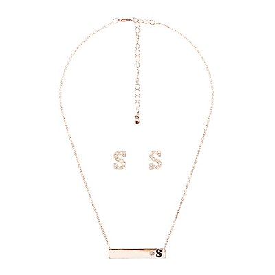 """S"" Initial Necklace & Earrings Set"