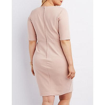 Plus Size Wired Plunge Bodycon Dress
