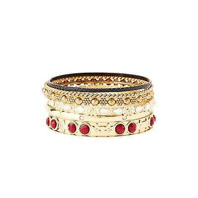 Etched & Jeweled Bangle Bracelets - 6 Pack
