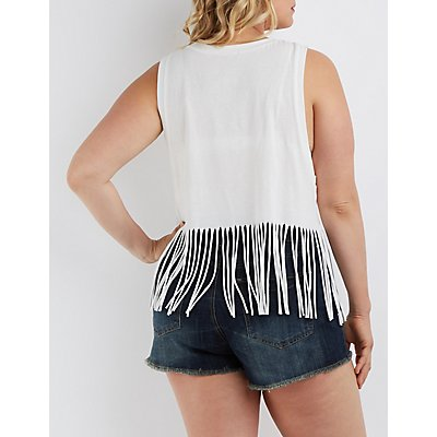 Plus Size Fringed Graphic Tank Top