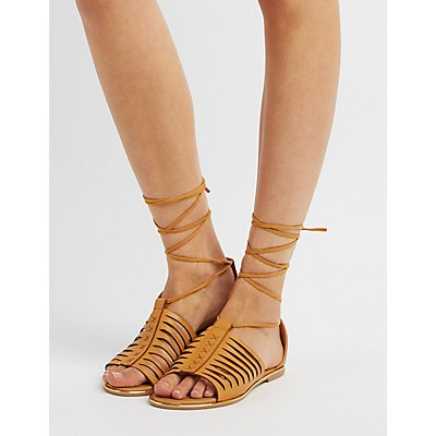 Qupid Lace-Up Huarache Sandals