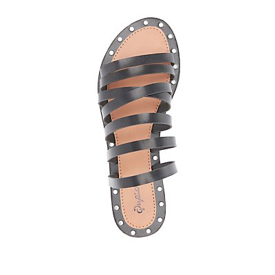 Qupid Studded Strappy Sandals