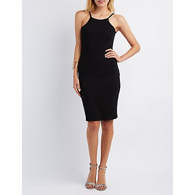 Ribbed Backless Bodycon Dress