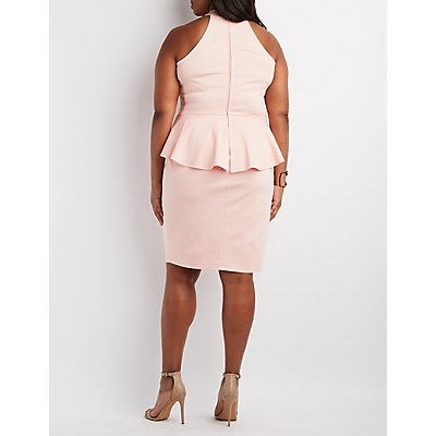 Plus Size Caged Peplum Dress