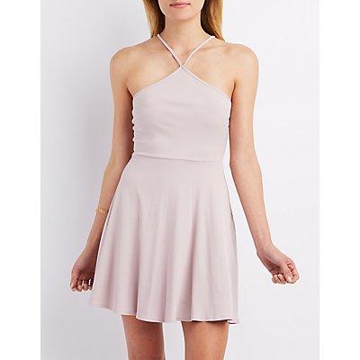 Ribbed Strappy Skater Dress
