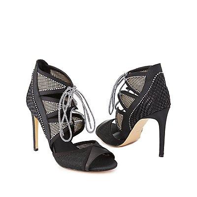 GX by Gwen Stefani Lace-Up Woven Dress Sandals