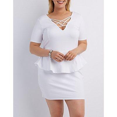 Plus Size Caged Peplum Bodycon Dress