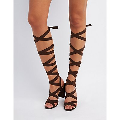 Lace-Up Chunky Heel Sandals