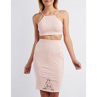 Lace-Trim Bib Neck Bodycon Dress
