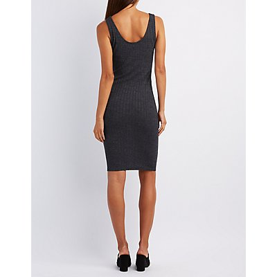 Ribbed & Ruched Midi Dress