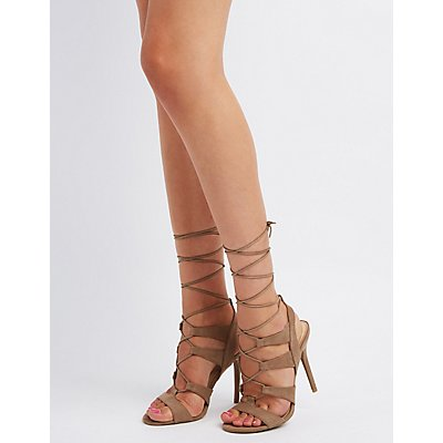 Lace-Up Caged Sandals