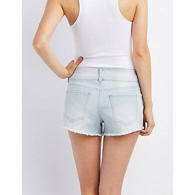 Refuge Mid-Rise Shortie Cut-Off Shorts