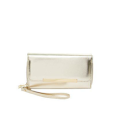 Gold-Tipped Double Zipper Wristlet Wallet
