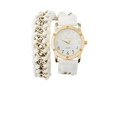 Braided Chain Strap Wrap Watch